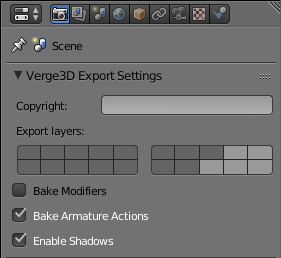 Verge3D Export Layers Settings