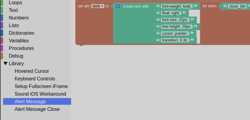 Alert message Puzzles library entry
