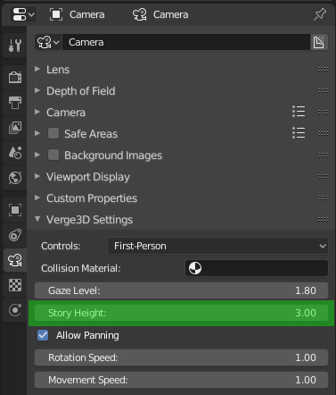 Story height setting for first-person camera in Blender