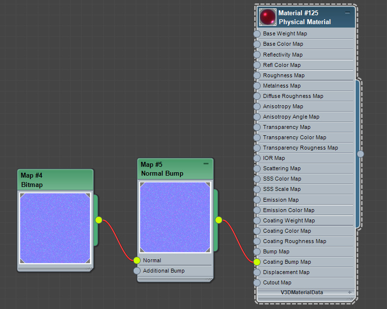 Using the Coating Bump Map input of the physical material map in 3ds Max