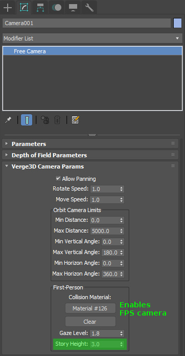 Story height setting for first-person camera in 3ds Max