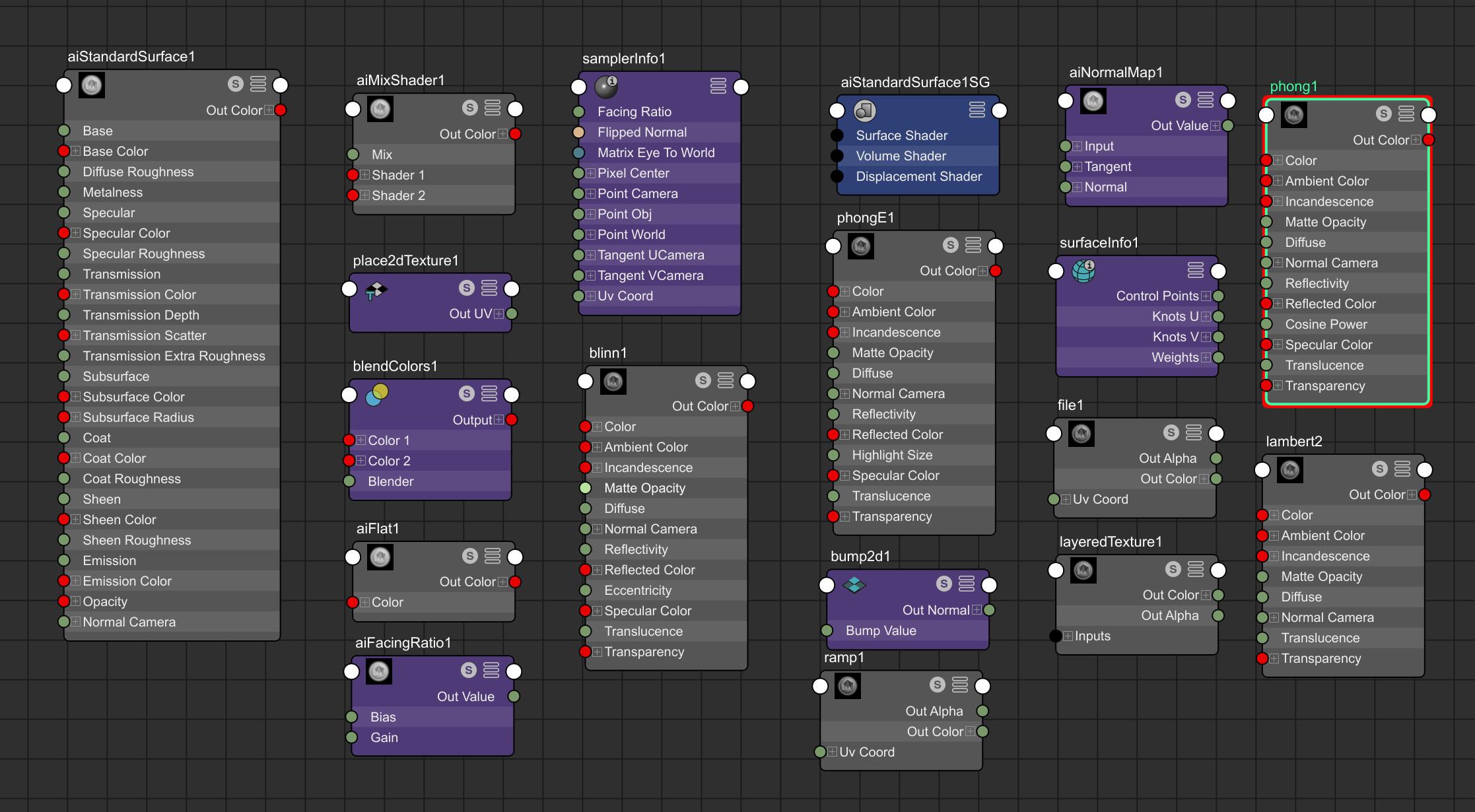 Verge3D for maya material nodes