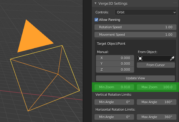 Verge3D settings for orthographic cameras