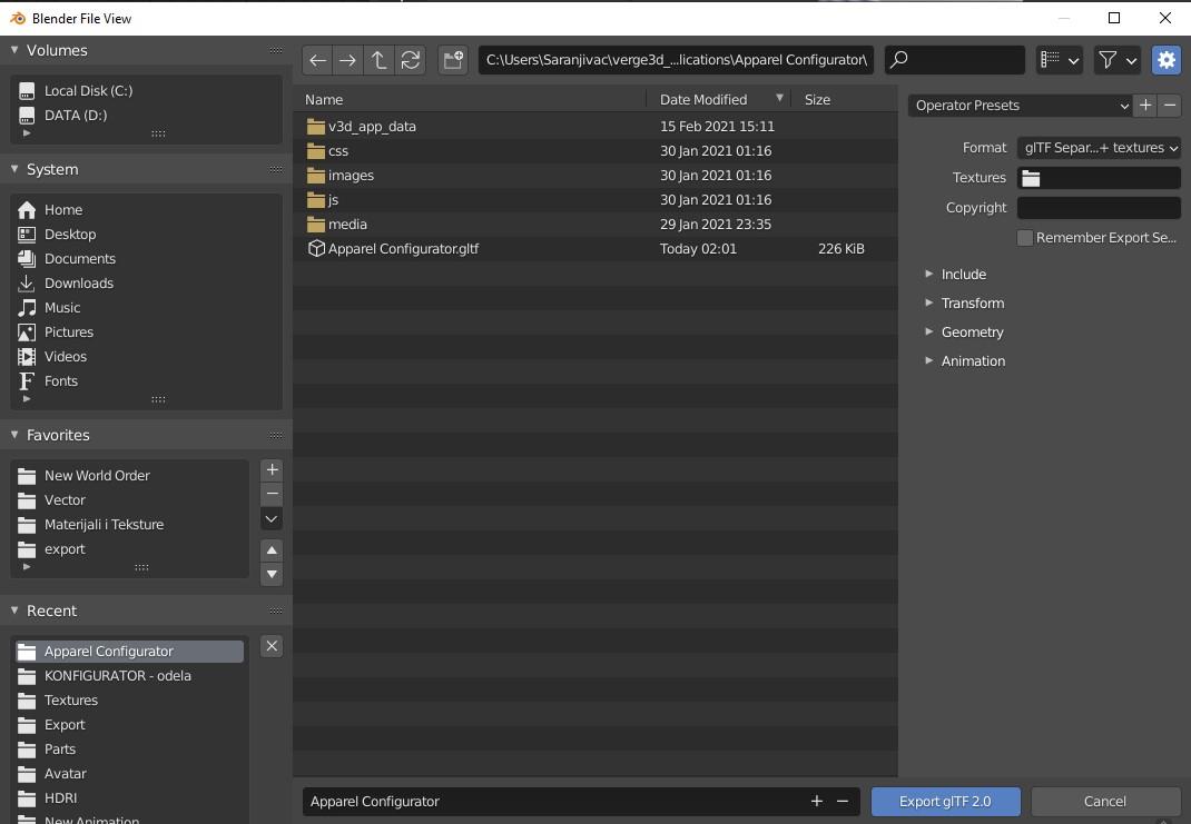 gltf 2.0 export screen