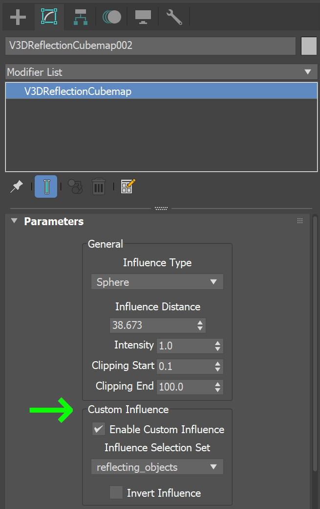 custom influence parameter for light probes in 3ds Max