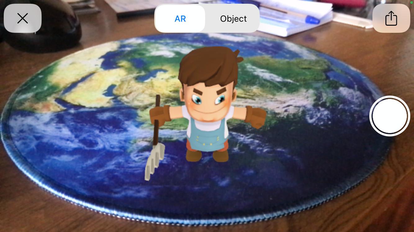 Augmented reality example working on iOS via USDZ