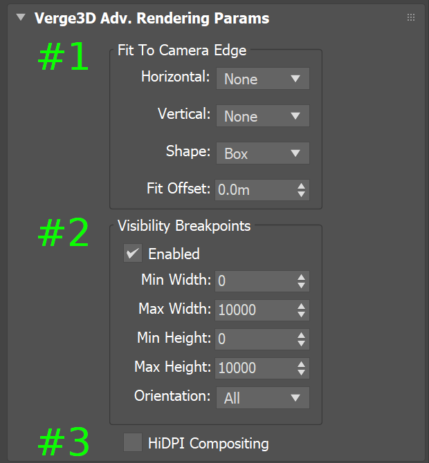 Verge3D for 3ds Max settings related to 3D User Interfaces