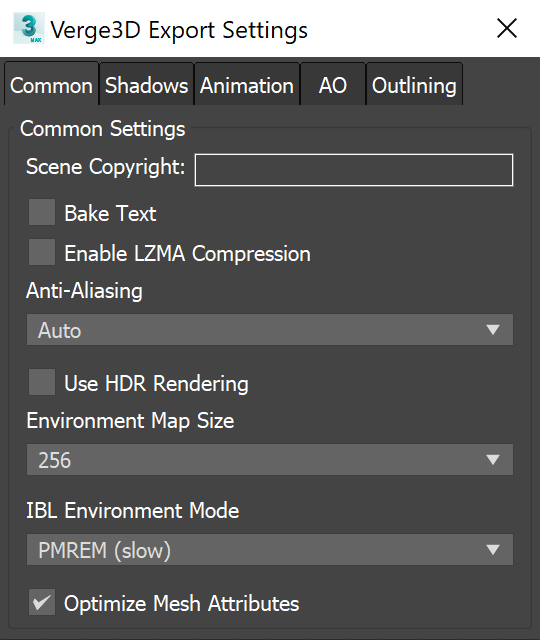 3ds max - reorganized Verge3D export settings