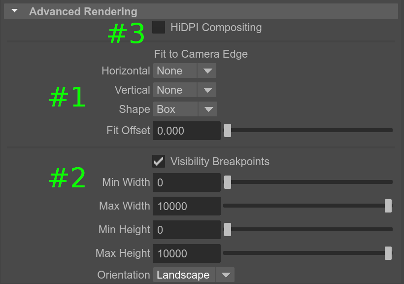 Verge3D for Maya settings related to 3D User Interfaces