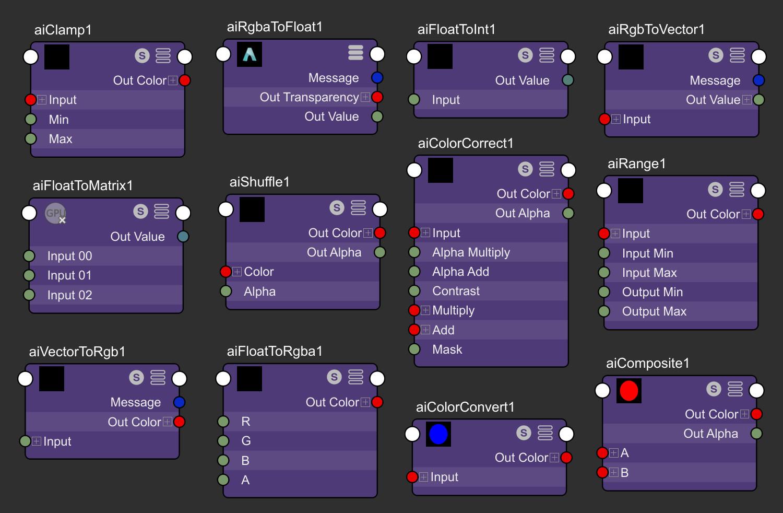 Maya newly supported nodes: aiFloatToInt, aiFloatToMatrix, aiFloatToRgba, aiRgbToVector, aiRgbaToFloat, aiVectorToRgb, aiClamp, aiColorConvert, aiComposite, aiRange, aiColorCorrect, aiShuffle, aiCheckerboard,aiImage,aiColorToFloatandaiTwoSided.