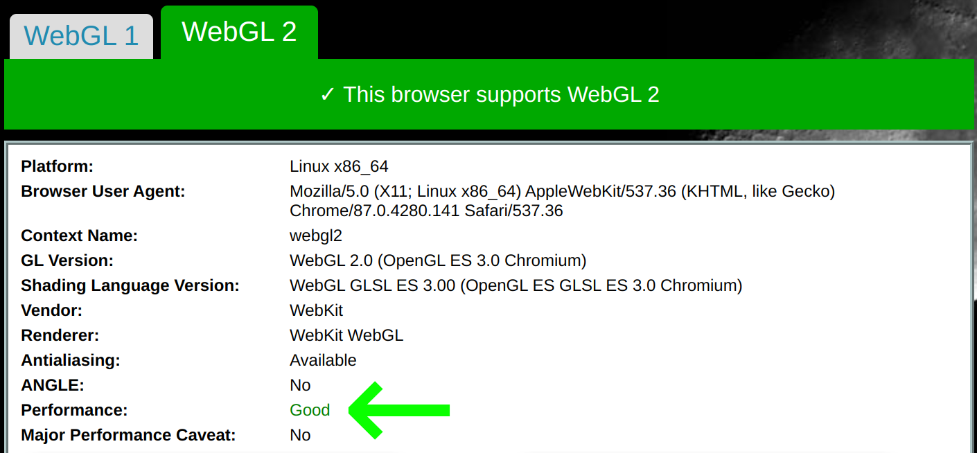 WebGL report page with performance benchmark output